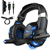 DIZA100 PS4 Headset, K2 Gaming Kopfhörer für PS4 PC Xbox One,LED Light,Mikrofon,Bass Surround (Blau) …
