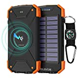 BLAVOR Wireless Power Bank, Solar Ladegerät 10.000mAh Externer Akku, LED-Licht, Notfall-Energie für iPhone, Samsung, iPad, Mobiltelefon, kabellose Kopfhörer
