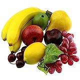 Gresorth Künstliche Lebensecht Apfel Brin Banane Traube Zitrone Pfirsich Fälschen Früchte Dekoration - 7 Stück