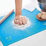 Sinwind Silikonmatte Silikon Backmatte Baking Mat BPA frei Nonstick mit Messungen Fondant Teig Gebäck Backmatte Teigmatte Wiederverwendbar für Fondant Gebäck Pizza Matte, 50x40cm Blau