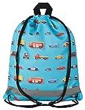Aminata Kids - Kinder-Turnbeutel für Mädchen und Junge-n mit BAU-Fahrzeuge Feuerwehrauto Betonmischer Auto-s Sport-Tasche-n Gym-Bag Sport-Beutel-Tasche hell-blau rot gelb Bagger