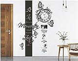 tjapalo s-pkm264 Wanduhr Wandtattoo Uhr Wohnzimmer Wandsticker Wandaufkleber Spruch - in diesen Momenten mit Namen, Datum und großem Uhrwerk (H160xB38cm + Uhr(58x52))