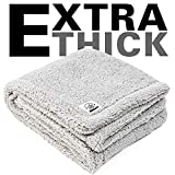 Allisandro Flauschige Hundedecke 80x60cm Grau Katzen Decke mit super Soft weiche zweiseitige Flauschige Haustier-Decke, Überwurf für Hundebett Sofa und Couch