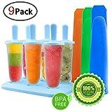 GeMoor Stieleisformer 6 Stück Eis am Stiel und 3 Stück Eislutscher Formen aus Silikon BPA Frei, Eisformen für Kinder und Erwachsene