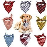 VIPITH Hunde-Halstuch, 8 Stück, kariert, waschbar, wendbar, verstellbar, Dreieck, Fliege für Haustiere und Katzen