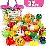 JoyGrow 32PCS Küchenspielzeug Kinder Schneide Lebensmittel Spielzeug Plastik Obst Gemüse Cutting Toy Kinder Rollenspiele Spielzeug