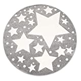 Kinder-Zimmer-Teppich mit Herz Sterne Wolken Anker Designs | rund oder rechteckig | Ideal für Jungen, Mädchen oder im Baby-Zimmer | Ökotex Zertifiziert (Sterne Grau, 120 cm rund)