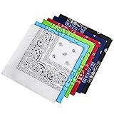 HBselect 6 Stück Bandana Kopftuch Halstuch 100% Baumwolle mit original Paisley und Cashew Muster für Damen 54×54cm