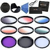K&F Concept Objektiv Filterset 52mm 6er Verlaufsfilter 52mm Slim UV CPL FLD Filter für Canon Nikon DSLR Kamera mit Reinigungstuch Objektivkappenhalter 2 Filtertaschen Gegenlichtblende Objektivdeckel