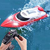 FATSW High Speed Ferngesteuertes Boot RC Boot mit Licht, 35KM/H 2,4 GHz Funkfernsteuerung 3000 mAh Warnung vor Schwacher Batterie für Erwachsene & Kinder für Pool & Outdoor(Rot Weiß)