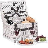 Weidenkorb Picknickkorb aus Weide mit Picknick Geschirr, Besteck, Gläsern, Korkenzieher