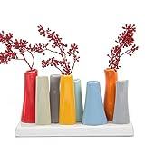 """Chive, """"Pooley 2"""", rechteckige Blütenknospen-Vase mit 8Röhren aus Keramik für kurze Blumen, Sortiment in Rot mit Grau, Orange und Blau"""