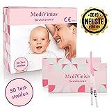MediVinius Ovulationstest 50 Streifen - Fruchtbarkeitstest für Frauen - Eisprung Teststreifen - praktisches Eisprung Messgerät - Teststäbchen für Ovulation Tests - LH Teststreifen
