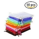EQLEF Packung mit 50 Organzabeutel Schmuck Geschenk-Beutel-Beutel-Verpackung für Party / Spiel / Wedding Verwenden