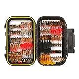 120 Stück Forellen Angeln Fliegen Kunstköder Set- Trockenfliegen, Nassfliegen, Nymph, Streamer und Emerger Fliegenfischen köder mit Angelbox