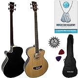 Stretton Payne Akustik Bass Gitarre mit Elektronik für Plugin, Fichtendecke Palisander Griffbrett