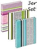 3er SET Walther Flipalbum SUNDRY - für bis zu 180 Fotos 13x18 cm - Fotoalbum mit Einstecktaschen - Rosa, Grün & Blau