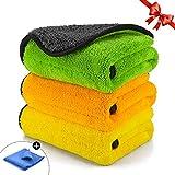 TABIGER Mikrofasertücher Auto, Poliertücher Microfasertuch 3 Stück 840 GSM Auto Trockentuch autopflege für Polieren & Trocknen bei Auto, Motorrad, Microfaser Poliertuch Lack