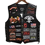 AIQIXING Leder Motorrad-Weste Punk-Lokomjacke Retro-Patch mit 42 Stickereiabzeichen Design Reitclub Casual Wear,Black,L