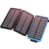 ADDTOP Powerbank 24000mAh Solar Ladegerät Wasserdichte Externer Akku 2 USB Ports Handy Ladegerät für iPhone XS Max/XR / X / 8/7 / 6s, iPad, Samsung Galaxy und viele mehr