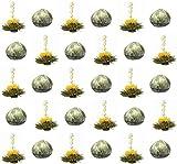 30 Stück Sonderangebot TRIPLE weißer Tee Teeblumen (3 Sorten) mit natürlichem Litschi-, Mango-, Pfirsicharoma/Teerosen/Teeblüten/blooming tea/Erblühtee/Aufblühtee aus hochwertigem Weißtee by Feelino