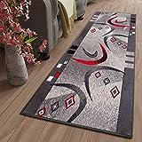Tapiso Dream Läufer Teppich Flur Brücke Modern Streifen Bumerang Linien Abstrakt Muster in Grau Korridor Wohnzimmer ÖKOTEX 80 x 250 cm