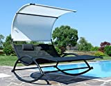 ASS Doppel Schaukelliege Sonnenliege aus atmungsaktivem Kunststoffgewebe mit Kopfpolster und Dach ergonomisch geschwungen Modell: IOS von