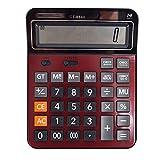 Milya 1 PCS Dual Power 14-stellig Standard-Taschenrechner Tischrechner Bürorechner Rechenmaschine Rot