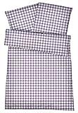 Kühle Mako Perkal Bettwäsche 135 x 200 cm in Lila Violett aus 100 % Baumwolle für besten Schlafkomfort bei warmen Temperaturen – 2-teiliges kariertes Bettwäsche-Set mit Kopfkissenbezug 80 x 80 cm