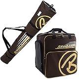BRUBAKER Kombi Set CHAMPION - Limited Edition - Skisack und Skischuhtasche für 1 Paar Ski bis 190 cm + Stöcke + Schuhe + Helm Braun Sand