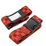 2er-Pack Premium Koffergurt 5x200cm mit Schnalle und Namensschild - hochwertiger Gepäckgurt, lange robuste Koffergurte von Red Valley Backpacks (2x Rot)