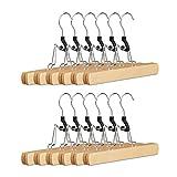 Relaxdays Hosenspanner Holz, 12er Set Kleiderbügel, silberner Klemmbügel für Hosen & Röcke, HBT: 17x25x2,3 cm, natur