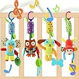 Evance 4 Stücke Kinderwagen Spielzeug Kinderbett Anhänge Cartoon Tier hängen Rassel Kleinkind Spielzeug weiche Flock Stoff mit Klingel Glocke
