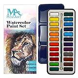 Aquarellfarben set - 24 kräftige Farben – Leicht und tragbar – Perfekt für Hobbymaler und Profis – Mit Pinsel - MozArt Supplies