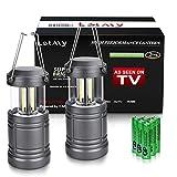 Puaida LED Campinglampe mit 6 AA Batterie - Magnetunterlage - 500 Lumen Extrem Hell Tragbare LED Camping Laterne, Faltbare COB Laterne Taschenlampe Wasserdicht für Wandern, Angeln(2 Stücke)