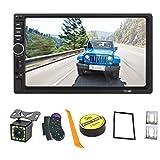【Summdey】 Android/iOS Mirror Link kapazitiver Touchscreen 17,8 cm (7 Zoll) 2 DIN MP5-Player Auto Multimedia mit AUX/USB/SD/TF-Karte FM + 12 LED Rückfahrkamera + Lenkradfernbedienung