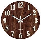 jomparis Nachtlicht Wanduhr 12 Zoll / 30 cm Hölzern Wanduhr Küchenuhr Nicht-tickende Uhr für die Küche Home Office Wohnzimmer und Schlafzimmer (Dunkelbraun)-MEHRWEG
