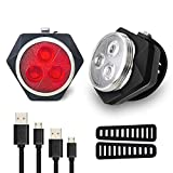 Hually LED Fahrradlicht Set, StVZO USB Wiederaufladbare LED Fahrradlampe, LED Weißlicht and Rotlicht 800mAh Wasserdicht & Staubdicht LED Frontlicht & Rücklicht Energiesparend
