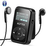 8GB Bluetooth 4.0 MP3 Player mit Clip, Sport HiFi Musik Player, FM-Radio, Sprachaufnahme, mitgeliefert Silikonhülle und Armband, unterstützt bis zu 128 GB, von AGPTEK A26TB, Schwarz
