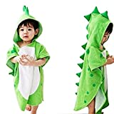 OAMORE Baby Handtuch Breathable Warm Kinder Strandponcho Polygonal Dinosaurier Kapuzenhandtuch Badetücher (Grün)