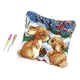 B Baosity DIY Knüpfkissen Kaninchen Kissen Hülle Zierkissenbezüge zum Selber Knüpfen, Knüpfset mit Häkelnadeln für Kinder und Erwachsene