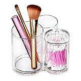 ISWEES Kosmetik Organizer - 3 Fächer Makeup Pinselhalter Becher Ständer Acryl Make up Aufbewahrung Kosmetikpinsel Behälter,Klar Pinsel Baumwolle Ball & Swab Halterung