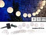 Lunartec Lampionkette: Solar-LED-Lichterkette, warmweiß, mit 20 weißen Lampions, 3,8 m, IP44 (Lichterkette mit Solar-Panel)