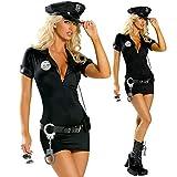 Duuozy Frau Erwachsene Sexy Polizei Kostüm Verkehr Polizeiuniform Halloween Polizistin Rolle Spielen Kostüm S M L XL XX,XXXL