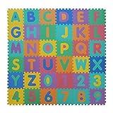 VeloVendo Puzzle-Spielmatte | Verzahnte Puzzle Quadrate fördern die visuelle-sensorische Entwicklung | Sanfte Baby-Bodenmatte | EVA Schaumstoff Bodenquadrate | TÜV Rheinland geprüft (Buchstaben + Zahlen)