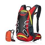 Fahrradrucksack 15L Trinkrucksack Stylisch Wasserdicht Rucksäcke für Radsport Radfahren Running Laufen Jogging, Raincover enthalten (Rot)