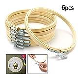KING DO WAY 15cm, 6 pcs Stickrahmen, Kreuz Stitch Hoop Ring, Ring-Rahmen aus Bambus, Metall-Schraubbefestigung für Kunsthandwerk Handnähen