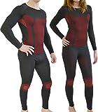normani Sport Funktionswäsche Garnitur (Hose + Hemd) für Damen und Herren - Ski Unterwäsche mit Elasthan Farbe Rot Größe L/XL
