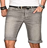 A. Salvarini Herren Designer Jeans Short Kurze Hose Slim Sommer Shorts Bermuda, Hellgrau, W36