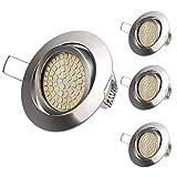 LED Einbaustrahler flach 4Pack 3.5W Warmweiße Ultra Flach LED Einbauleuchte Deckeneinbaustrahler Einbauspot Deckeneinbauleuchte Deckenspot, LED Einbaulampen im Wohnzimmer, Schlafzimmer, Esszimmer